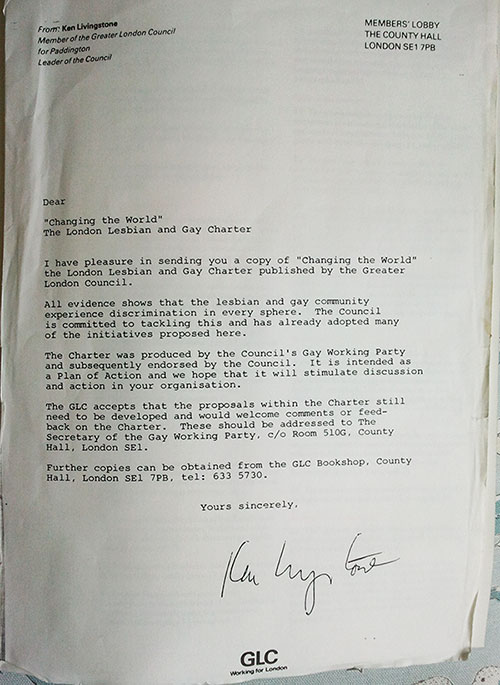 Letter introducing GLC Changing the World A Charter For Gay and Lesbian Rights from Ken Livingstone