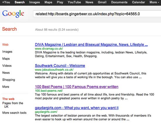 screenshot of search results, showing Diva, Southwark Council, 100 best poems, gaydar girls