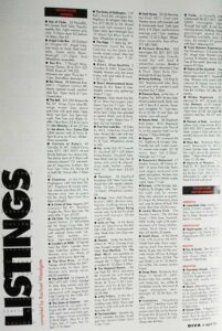 Listings from the first ever DIVA magazine April 1984
